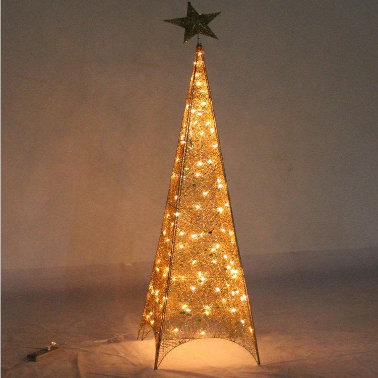 Arbol De Navidad Con Luces Estilo Torre Eiffel Dorado 165m