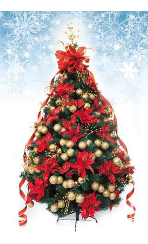 árbol de navidad decorado artificial 2.20mts rojo/oro