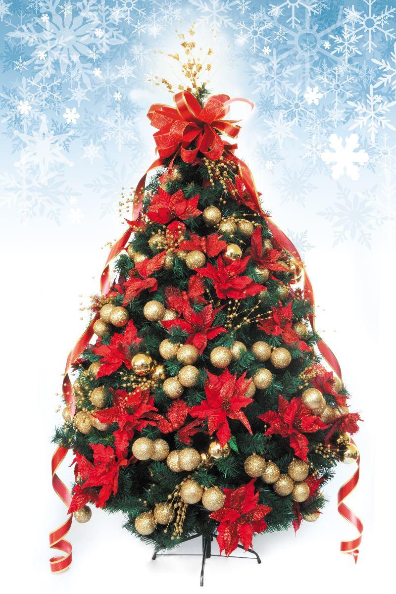 Rbol de navidad decorado artificial rojo oro - Arboles de navidad artificiales ...