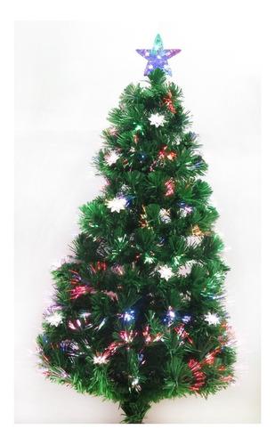 arbol de navidad en fibra optica con estrellas de 180cm