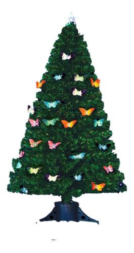 arbol de navidad fibra optica con mariposas led de 120cm