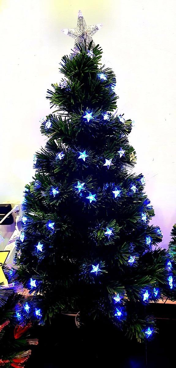 1b25145bb26e7 Árbol De Navidad Luz Led Azul Neón Con Estrellas 3 Metros ...