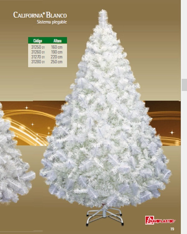 Árbol De Navidad Modelo California 1.60 Mts Color Blanco ...