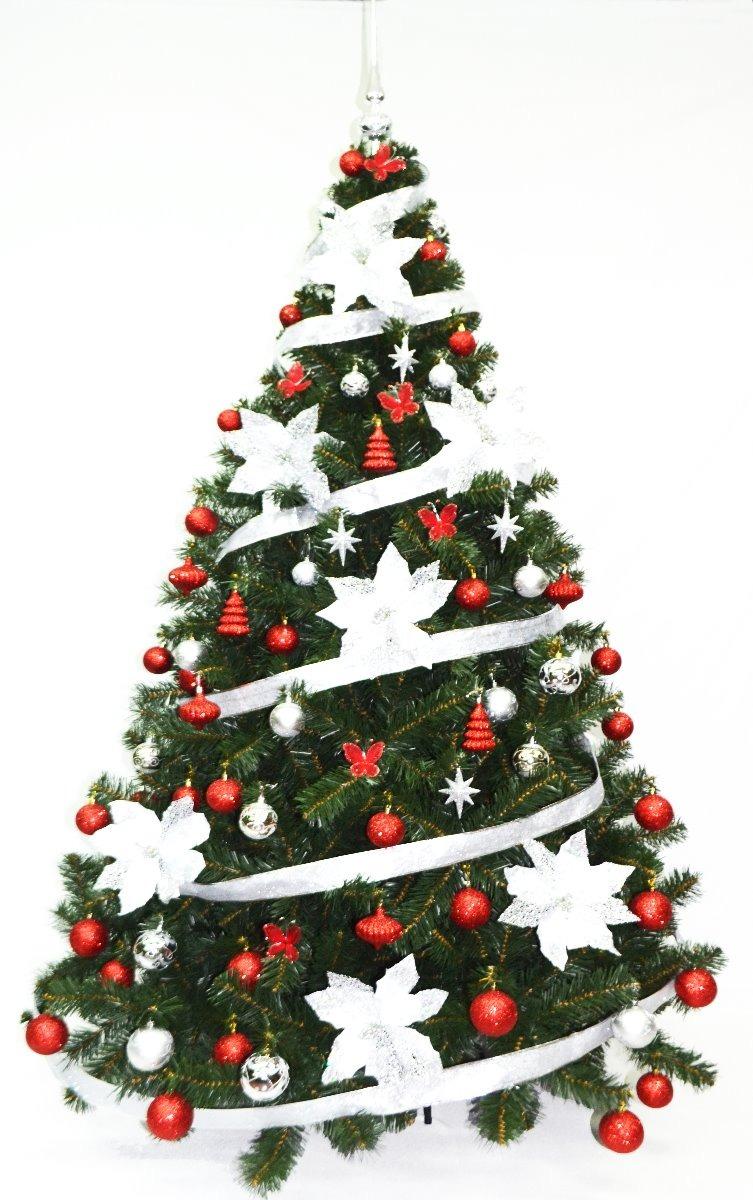 Decoracion de arbol de navidad rojo y plata