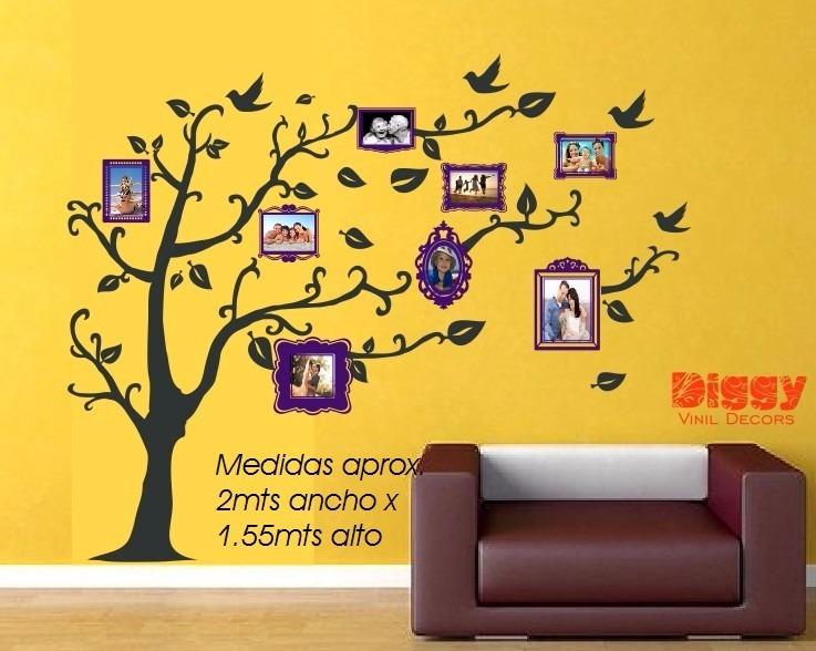 Rbol geneal gico vinil decorativo con marcos para fotos - Marcos de fotos pared ...