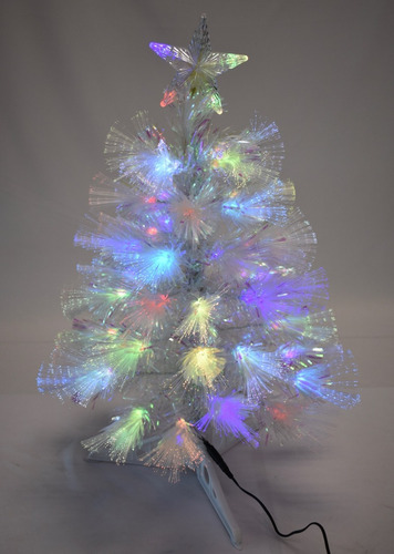 arbol mini blanco con fibra optica luz led 60 cm