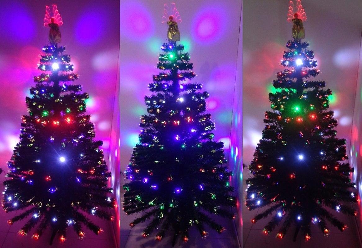 Rbol navidad blanco fibra ptica y led metros for Arbol de navidad led