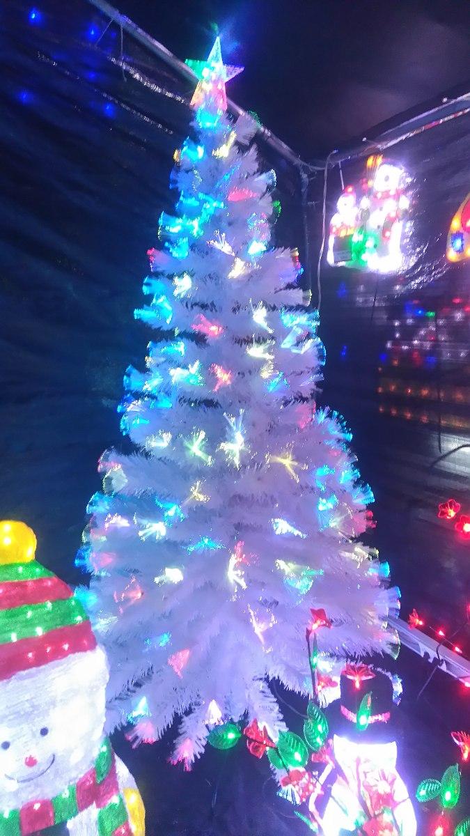 Rbol navidad blanco fibra ptica y led metros en mercado libre - Arbol de navidad blanco ...
