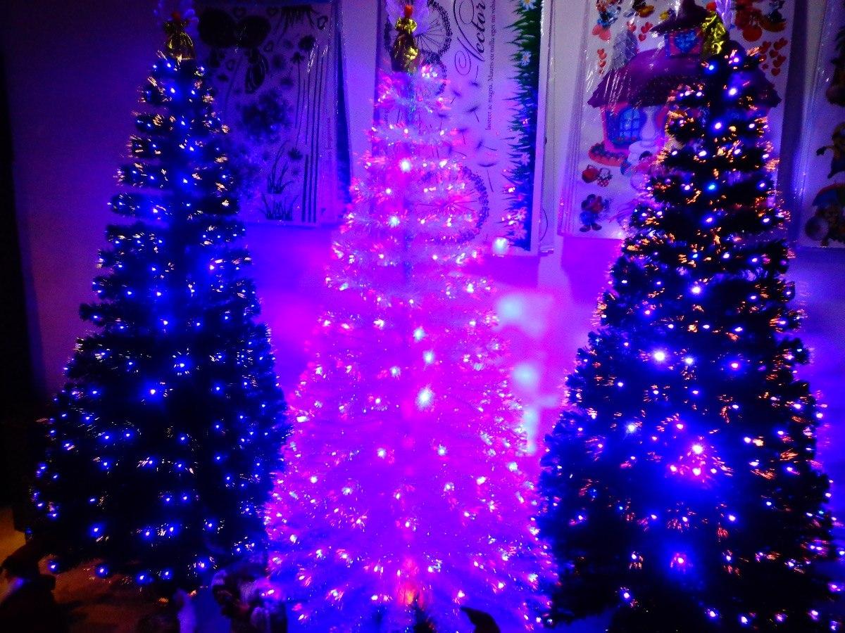 Arbol navidad blanco fibra y led tricolor metros - Arbol navidad led ...