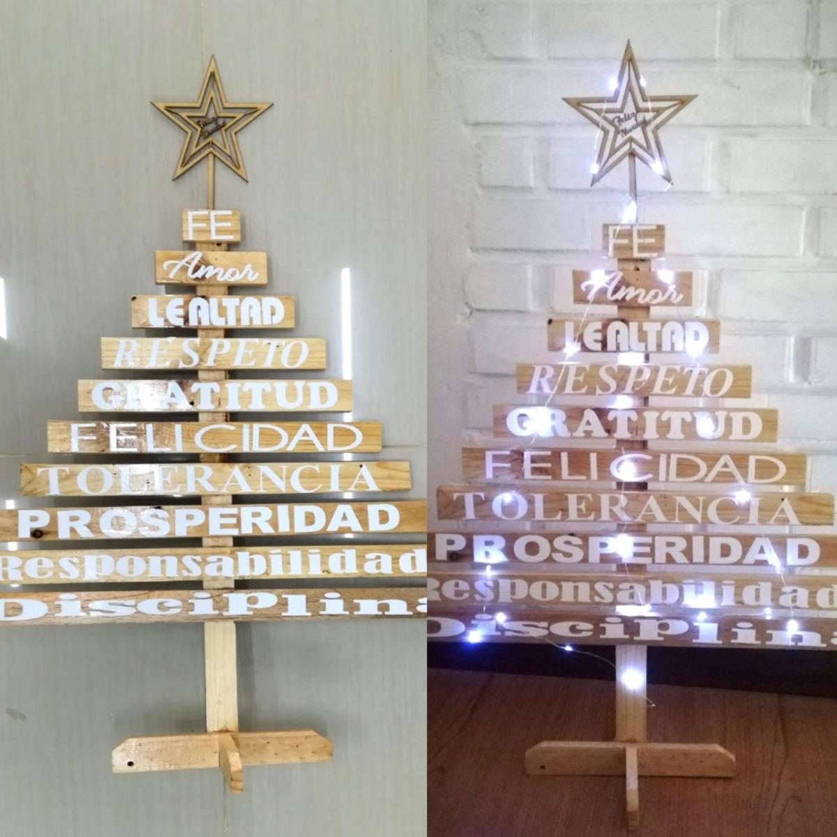 Arbol navidad madera vintage 90 cm instalaci n luz led en mercado libre - Arboles de navidad de madera ...