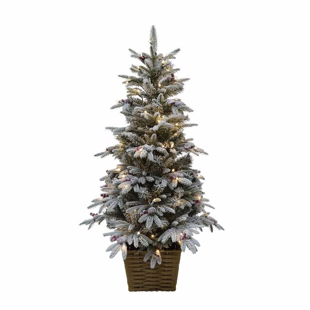 Arbol Navidad Nevado Luz Led En Canasta - $ 2,699.00 en Mercado Libre