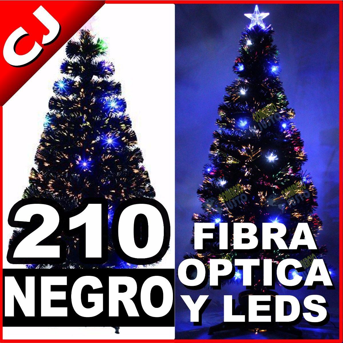 Arbol negro 210 fibra optica y luces led integradas navidad 2 en mercado libre - Luces led arbol navidad ...