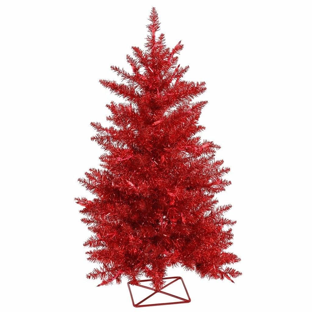 Arbol pino de navidad color rojo mini 61cms for Arbol rojo jardin
