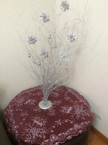 arbol plateado diseño ramas secas flores plateado nuevo 90 c
