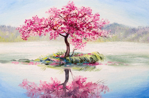 árbol rosa en lago tipo oleo med, canvas cuadro decorativo