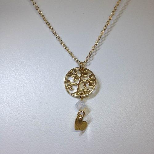 arbol tribal con cadena en oro laminado 22 kilates