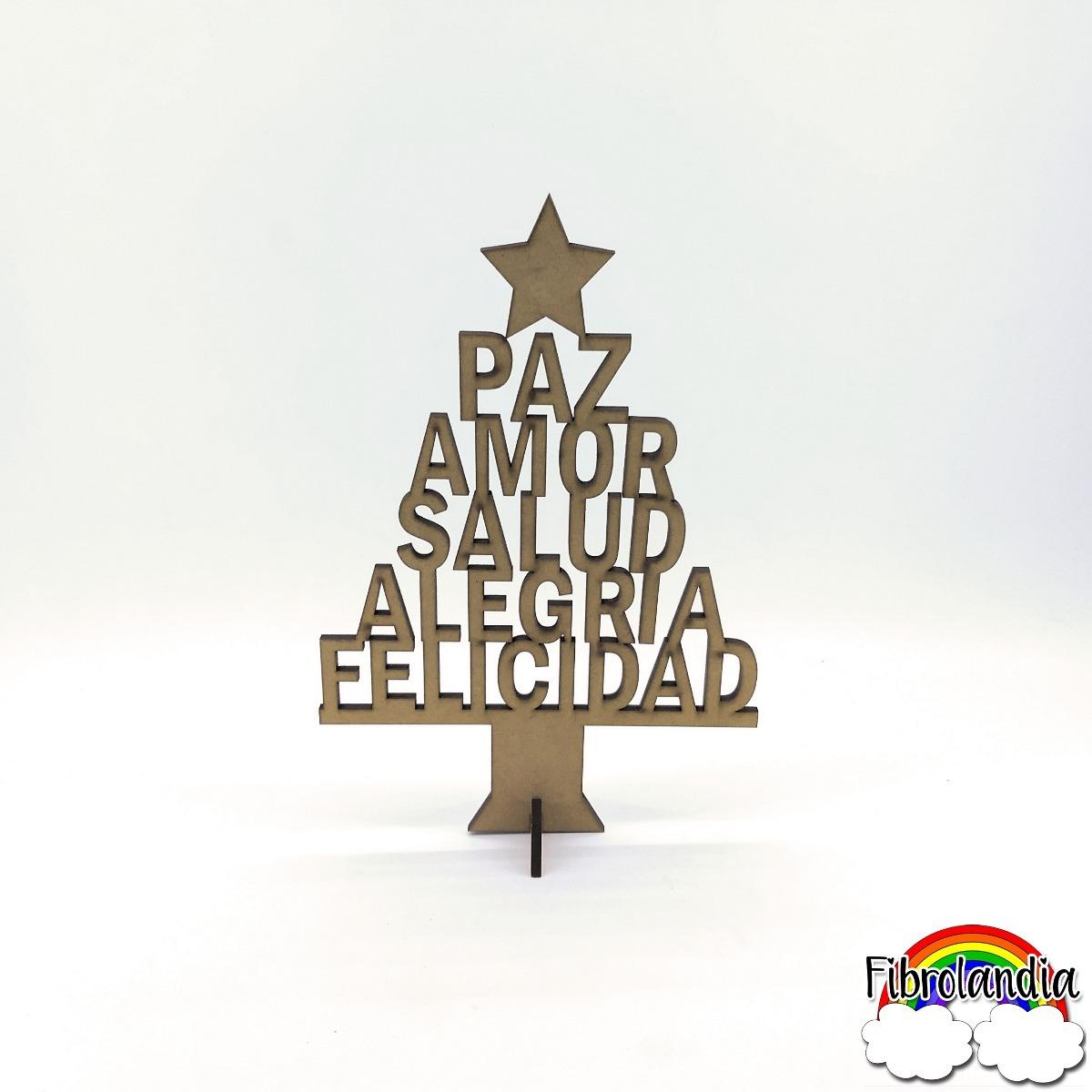 Arbolito Navidad Mdf Fibrofacil Frase Para Pintar 20cm 40 00 En