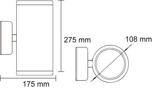 arbotante decorativo doble luz e27 exterior aluminio
