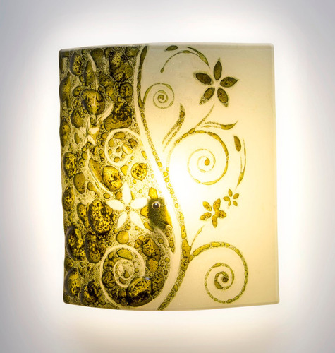 arbotante/ lámpara pared cristal burbuja flores verde