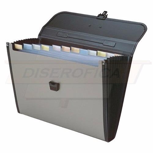 archivador acordeon plástico tipo maletin con asa carta ej