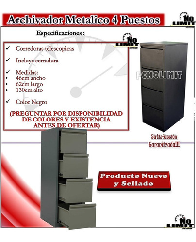 archivador metálico 4 gavetas vertical archivo pcnolimit mx