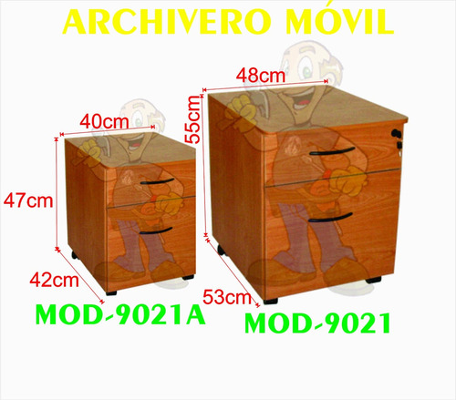 archivero movil 2 gavetas cajones mod 9021a