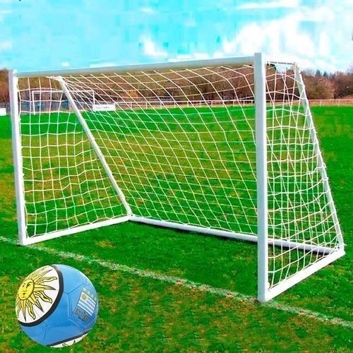 arco de fútbol de hierro + red + pelota + entrenador! el rey