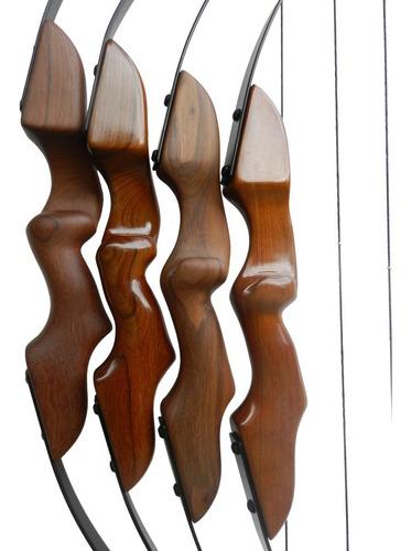 arco e flecha recurvo de madeira até 60 libras c/ 4 flechas