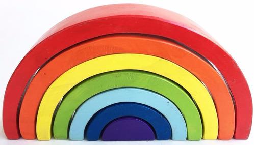 arco iris artesanal waldorf montessori grande 7 piezas 28cm