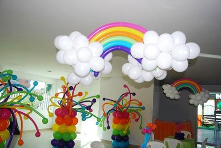 Arcoiris en globos decoraci n en globos 500 00 en for Decoracion para la pared de unicornio