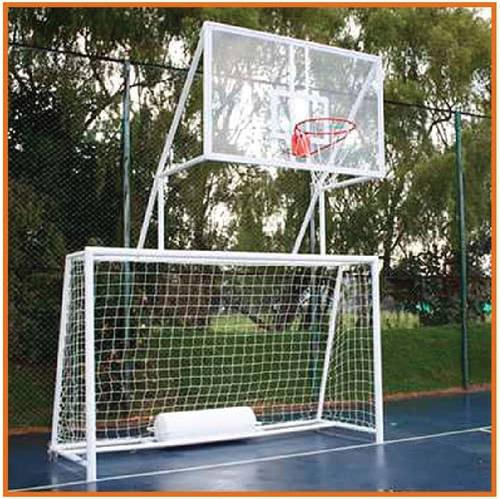arcos de futbol con tableros de básquet mixtos