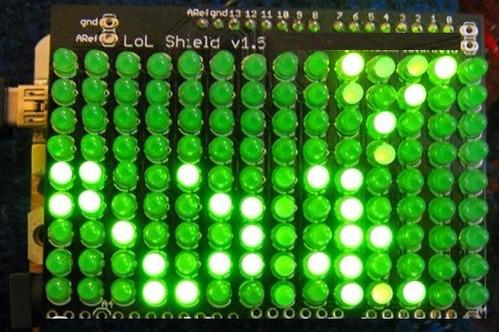 arduino matriz 9 x 14 v 1.5 leds verdes