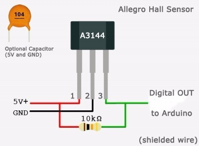 arduino sensor de efecto hall a3144