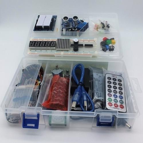 arduino uno genuino starter kit ultra completo c/ adaptador 9v + resistencias + wifi + bluetooth + libros digitales