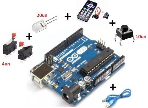 arduino uno r3 atmega328 dip com cabo usb e componentes