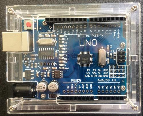 arduino uno r3 compatible + caja en acrilico transparente
