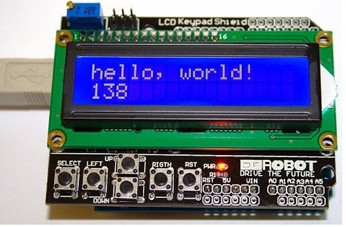arduino uno +shield  lcd + teclado +cable usb