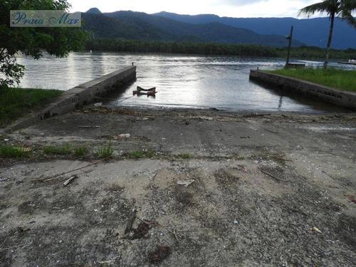 área comercial à venda com frente total para canal bertioga , marina, guarujá. - ar0004