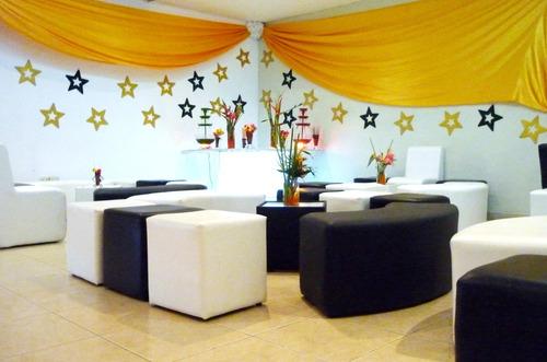 área lounge puf diván sombrillas quince años graduación boda