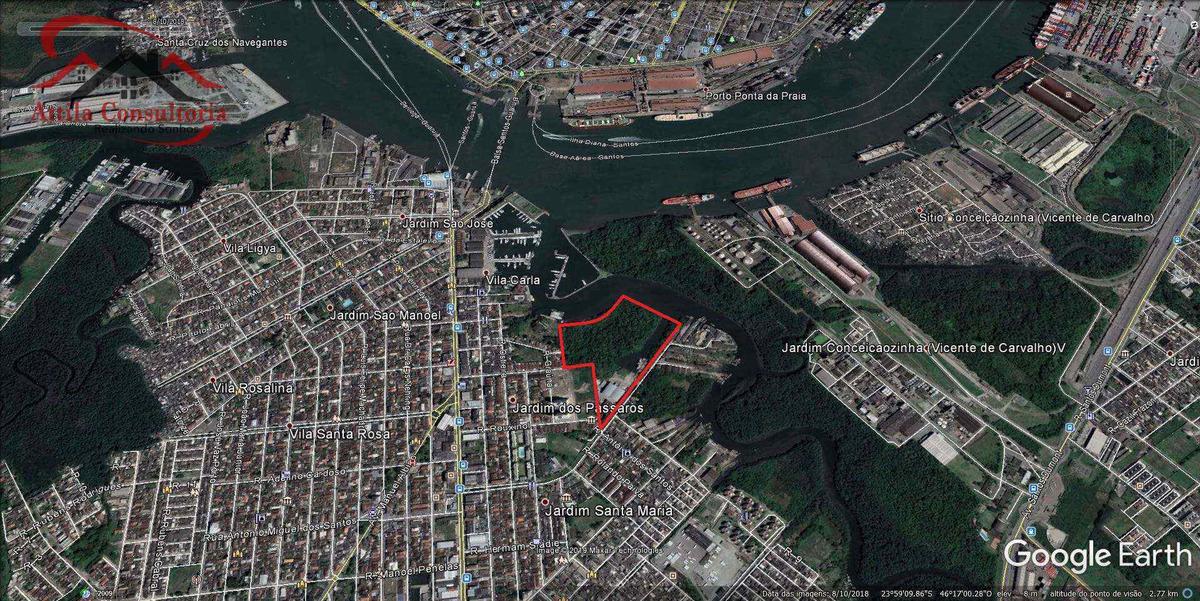 área portuária ou retroportuária com galpões - guarujá - v921