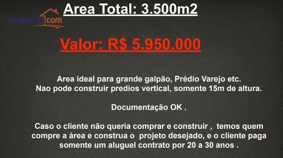 área à venda, 3500 m² por r$ 6.500.000 - vila ema - são josé dos campos/sp - ar0029