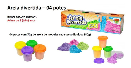 areia divertida massinha de modelar colorida com 4 potes cad