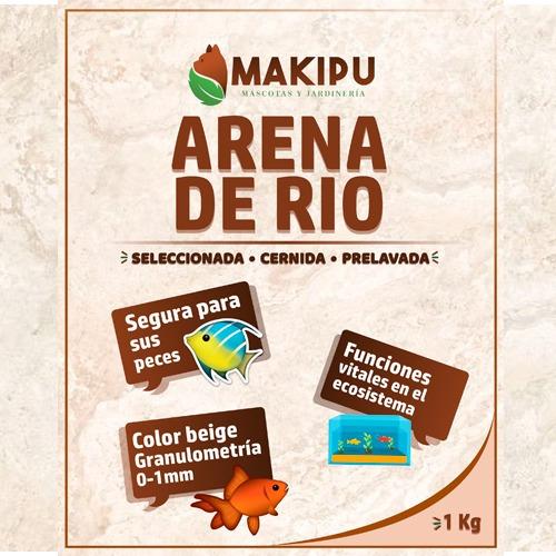 arena de rio beige para acuarios y peceras 1 kilo  makipu