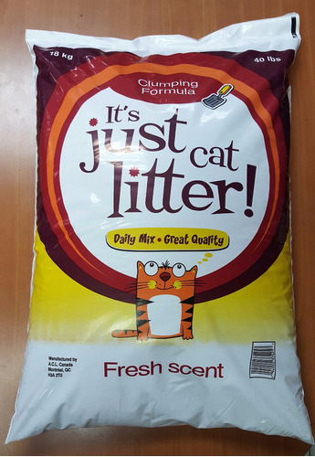 arena gatos just cat litter 100 % bentonita canadiense 18 kg