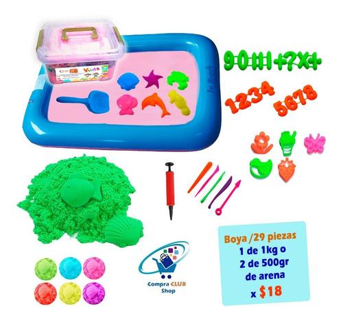arena magica cinética para niños bebes con piscina y moldes