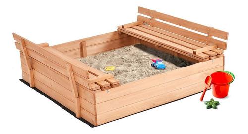 arenero con bancas parav niños en madera - importado