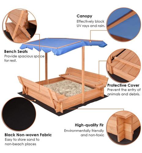 arenero de 1.40m con bancas para niños en madera y toldo