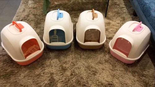 arenero grande para gatos con tapa, puerta, filtro y pala