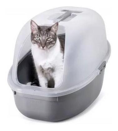 arenero para gato con tapa y pala color gris metal rimax