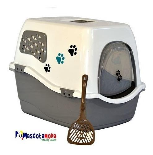 arenero tipo casa moderno para gatos con ventanas y rejillas